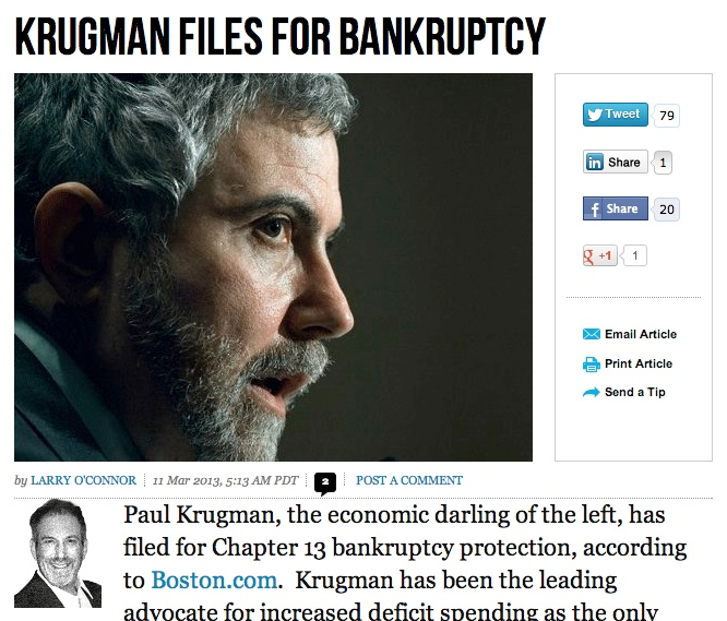 Conservative News Site Breitbart.com Duped By Fake Story That Paul Krugman Declared Bankruptcy