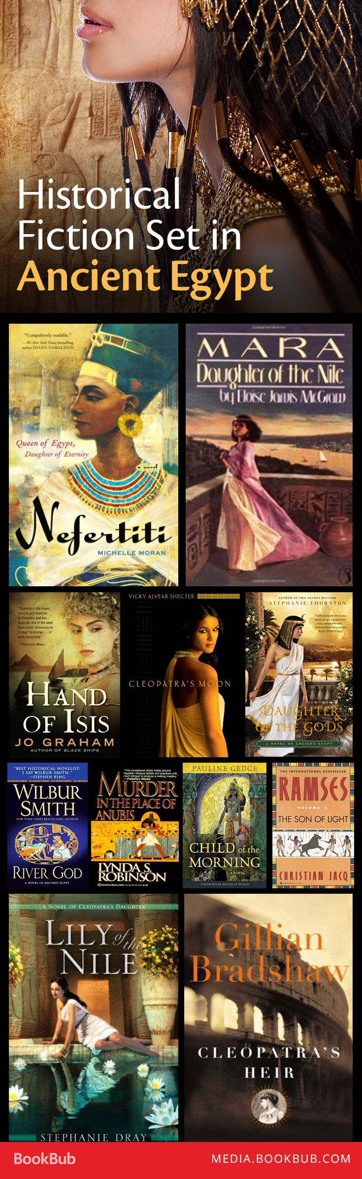 15 historical fiction books set in Ancient Egypt, including Nefertiti by Michelle Moran.