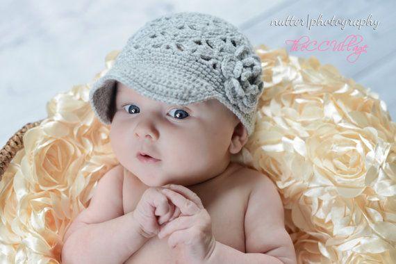 Grey Crochet Baby Hat Grey Crochet Girl Hat by TheCCVillage, £9.00