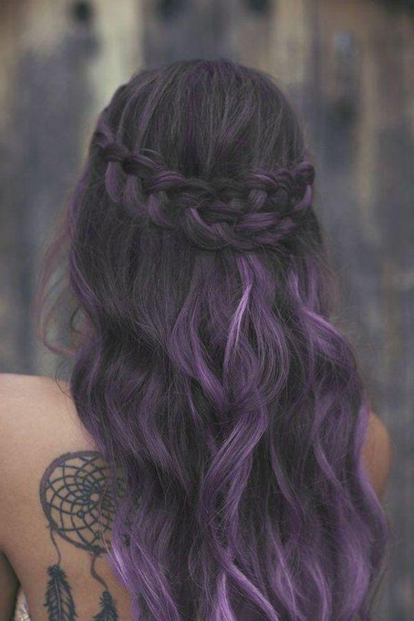 Les 25 meilleures id es de la cat gorie m ches violettes sur pinterest balayage violet - Balayage gris sur brune ...