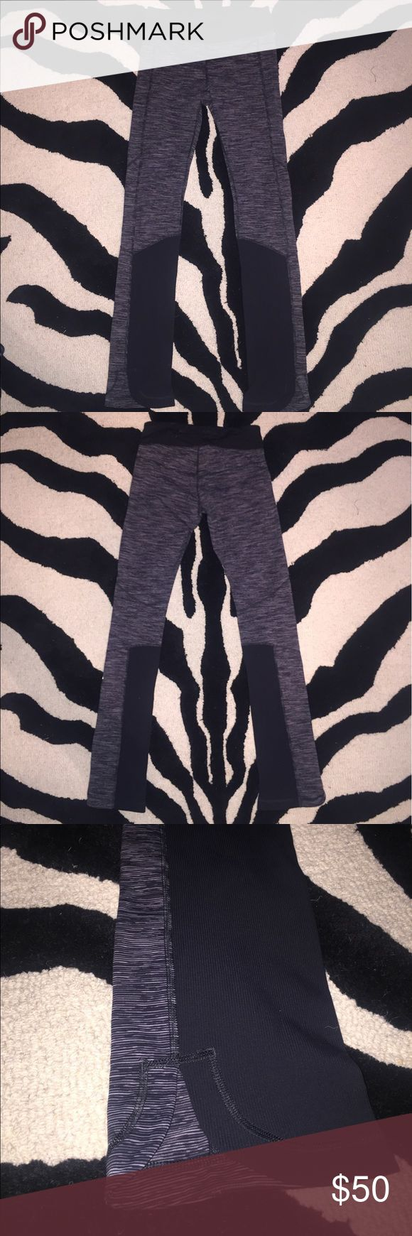 Lululemon Pants Lululemon pants in like new condition...worn two times! Super cute gray/white/black pattern with black accent panels, boot cut like fit over shoes with a curved slit at bottom hem. Rare find! lululemon athletica Pants Leggings