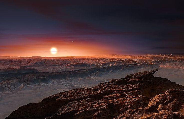 Rappresentazione artistica della superficie di Proxima Centauri b. Proxima Centauri b (chiamato anche Proxima b) è un pianeta extrasolare in orbita nella zona abitabile della nana rossa Proxima Centauri (componente C del sistema Alfa Centauri che si trova nella costellazione del Centauro).  Proxima Centauri, distante dalla Terra 4,224 anni luce, è la stella più vicina al Sistema Solare e questo rende Proxima b l'esopianeta conosciuto più vicino possibile alla Terra.