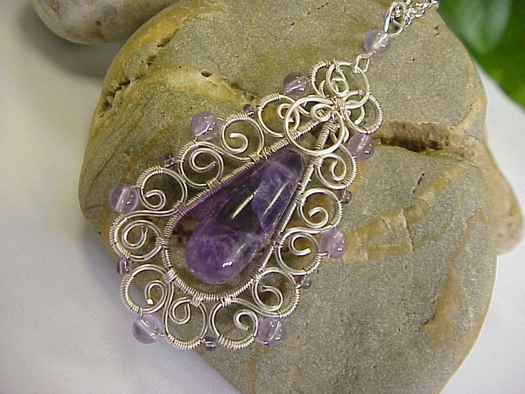Amethyst gemstone and silver pendant - wire wrapping jewelry.  via Etsy.: Wire Work, Jewelry Jewellery Wirework, Jewelry Ideas, Craft Ideas, Silver Pendants, Wire Wrapping