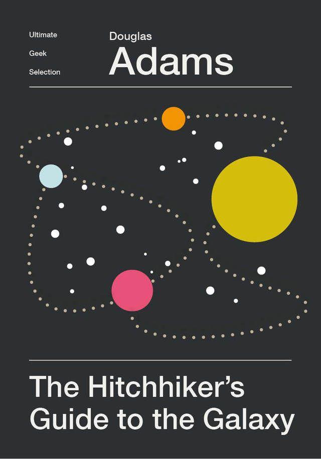 Copertina minimalista per Guida galattica per autostoppisti