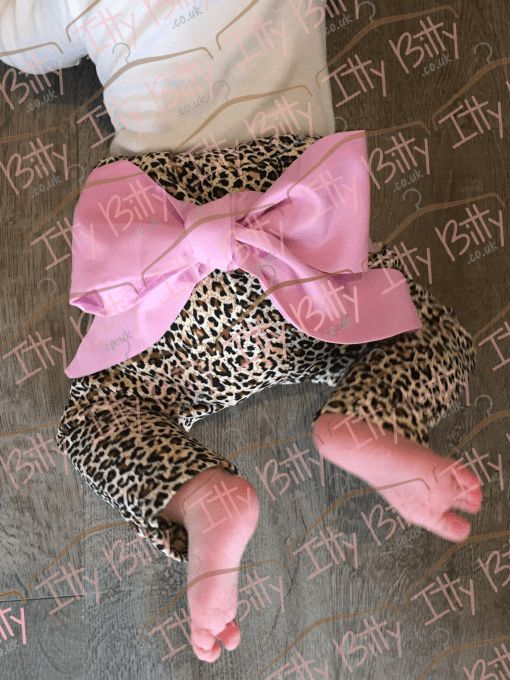 Leopard Print Pink Big Bow Trousers For Girls