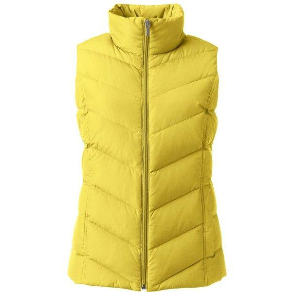 Lands' End Women's Petite Down Vest ($49) ❤ liked on Polyvore featuring outerwear, vests, lands end vest, yellow vest, down vest, lands' end and down filled vest