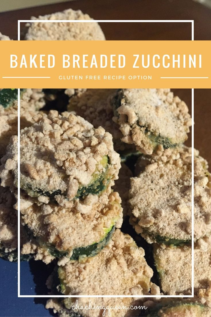 Baked Breaded Zucchini Recipe (Gluten Free Option) - You can make gluten free breaded zucchini with Cheerios! Since Cheerios are gluten-free now, they work well as Panko substitute.