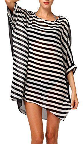 Yonala Women's Classic Striped Chiffon Beachwear Bikini Set Cover Up - http://darrenblogs.com/2016/04/yonala-womens-classic-striped-chiffon-beachwear-bikini-set-cover-up/