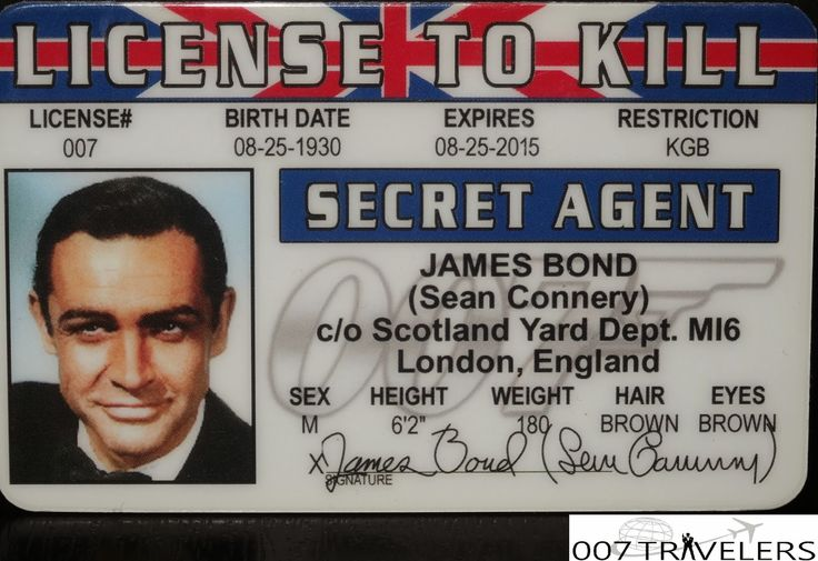 007 TRAVELERS: 007 Item: License to kill ID card