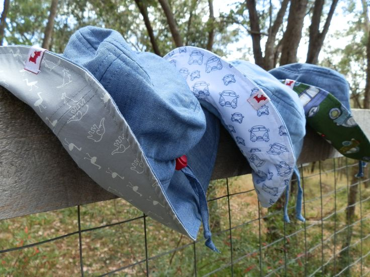 $29.95 - Boys Hat, 100% cotton chambray, UPF 50+.  This hat has a front brim of 5.5cm, in accordance with Cancer Council recommendations, with a wider brim at the back for added neck protection. It's made from lightweight 100% cotton chambray with a polycotton SportsPlus® core for breathability and durability. With an adjustable drawstring & cordlock it fits Size Small (1-3) and Medium (4-6). It is 100% Australian made and designed with sun protection in mind. www.shadydays.com.au