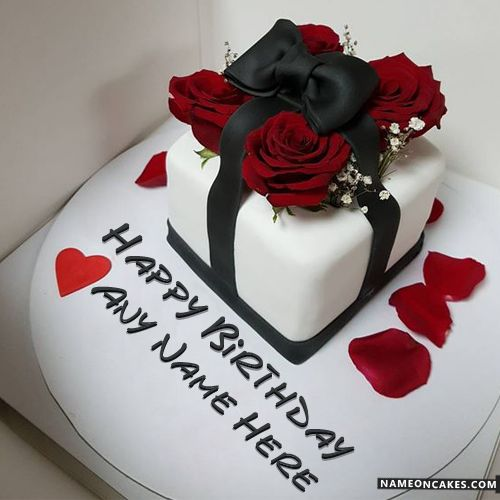 Romantic Decorated Red Roses Birthday Cake With Name Hbd