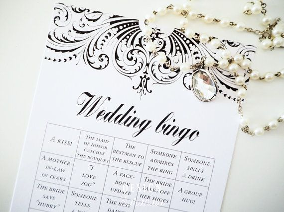 Wedding bingo printable now available on Design Sarandia Etsy shop. Buy it, print as many as you need and let your guests have fun with this game. Beautiful romantic design.