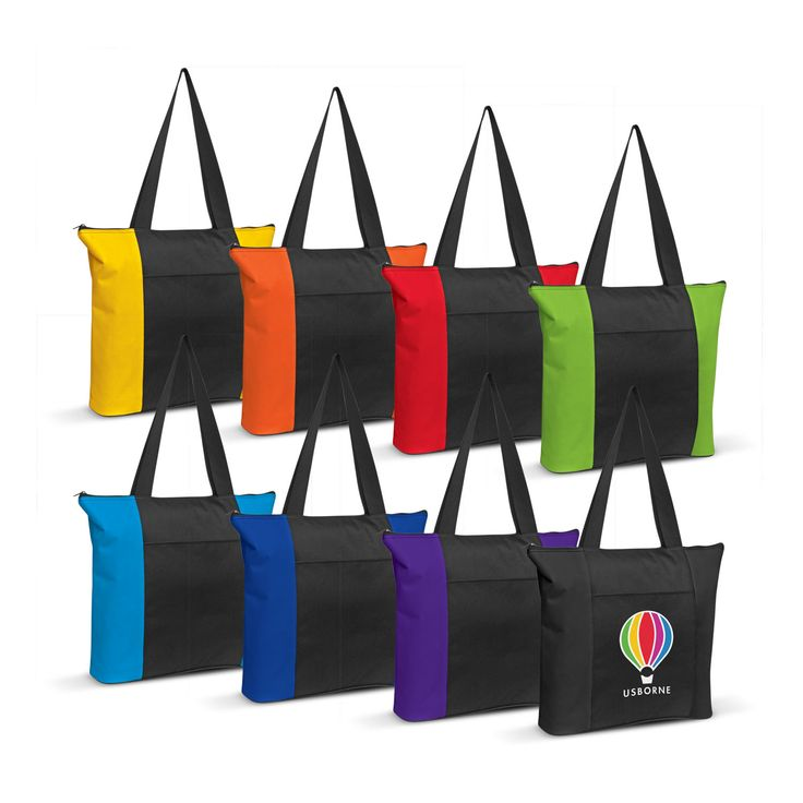Luxury tote bag manufactured from 600D polyester. Has a front pocket, secure zip closure and extra wide carry handles.