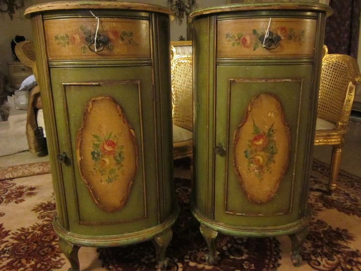 Pair Early Italian Carved Hand Painted Wood Hightstands Commodes Cabinets |  EBay