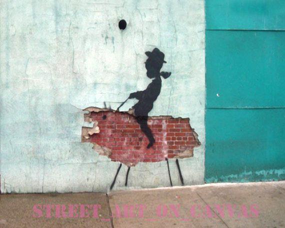 Banksy Urban Cowboy Street Art Grafitti 16 x 20 inch premium canvas print