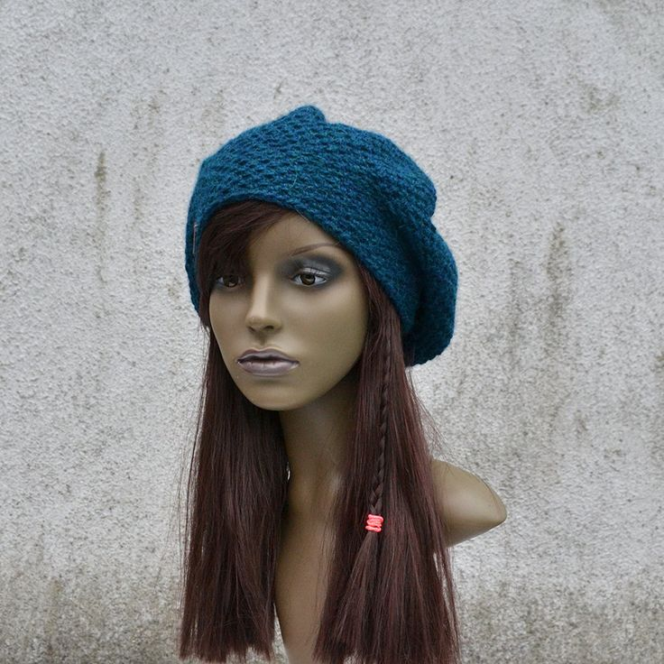 Handmade Alpaca Beret in Petrol, Slouchy Beret Hat, Man Hat, Woman Hat, Autumn Winter Hat, Crochet Hat by acrazysheep on Etsy https://www.etsy.com/listing/255073964/handmade-alpaca-beret-in-petrol-slouchy