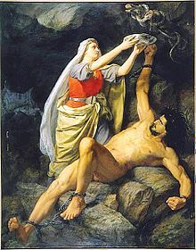 Loki's wife Sigyn - catching dripping venom so it does not get in Loki's face. When the bowl fills she must empty it and the venom again hits him in the face causing him to writhe in pain so that the whole earth quakes. She is the Goddess of fideltity