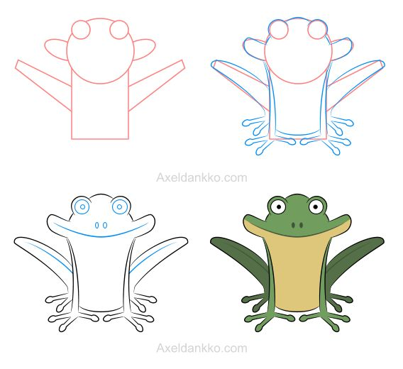 How to draw a frog - Comment dessiner une grenouille