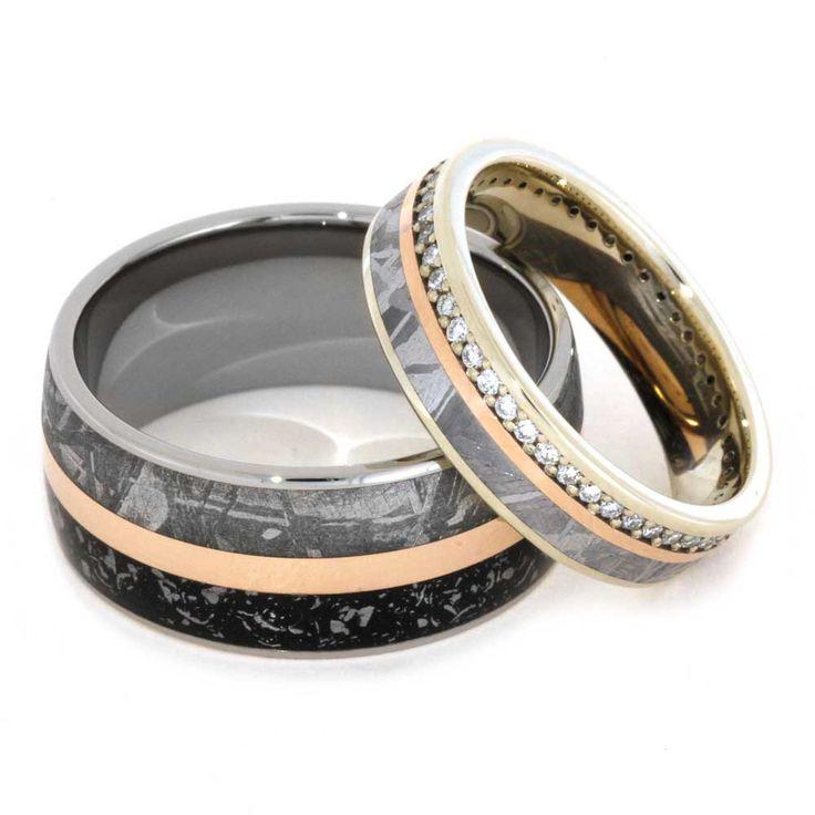 Trending k Rose Gold Meteorite Wedding Band Set