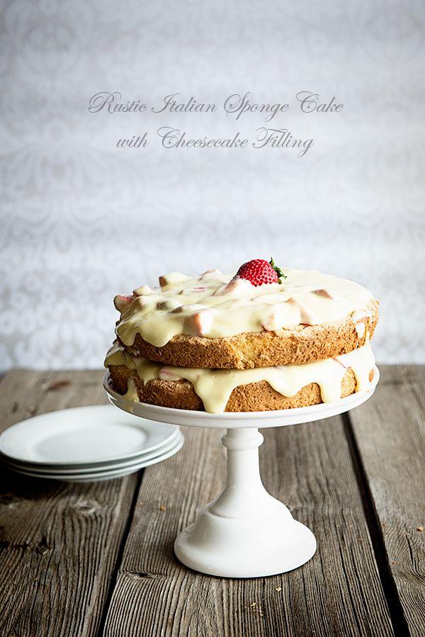 Rustic Italian Sponge Cake with Creamy Cheesecake Filling   Dine & Dish