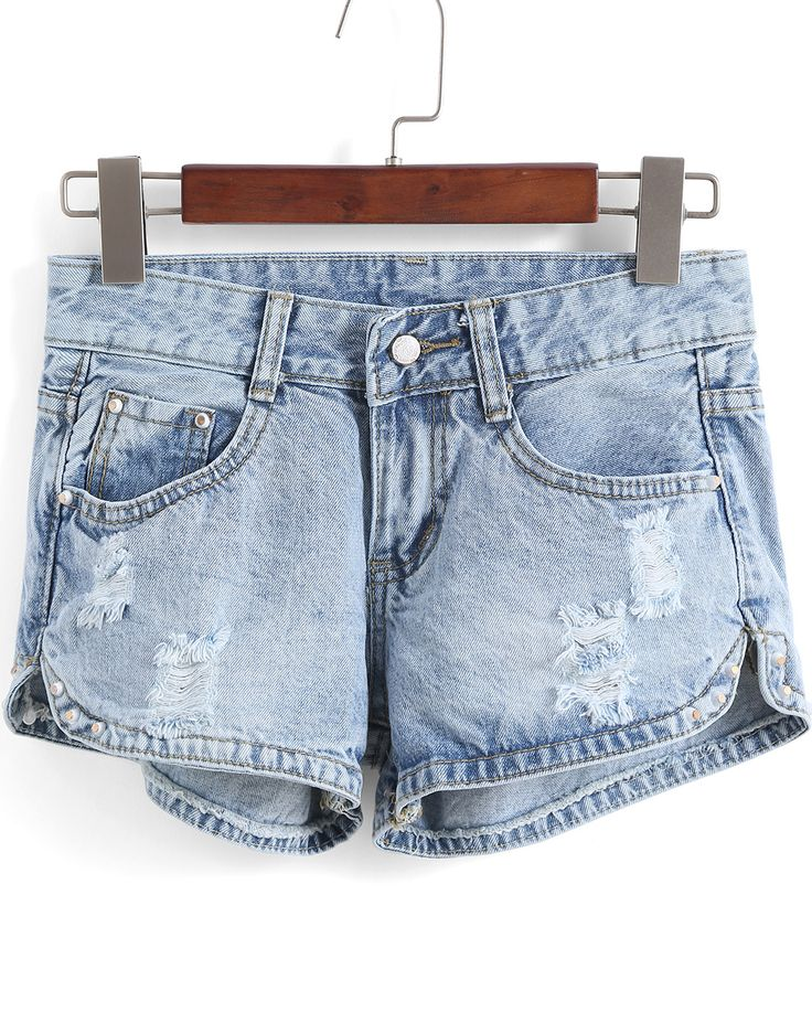 Shorts rotos tachuelas denim-(Sheinside)