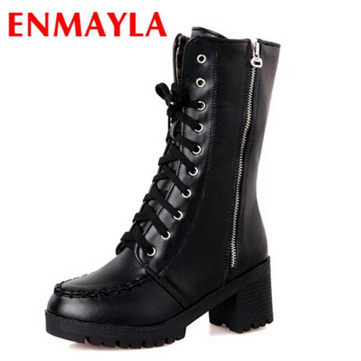 Купить товарНовые Ботинки Женщин Молния Зашнуровать Сапоги На Платформе Круглый Носок середина Высокий Каблук Мартин Сапоги для Женщин Болото Размер 34 43 продажа в категории Сапоги и ботинкина AliExpress.  Добро пожаловать в наш магазин       ENMAYLA Hook Large Size 34-43 Black Shoes Woman Mid-calf Boots Wedges Winter Warm