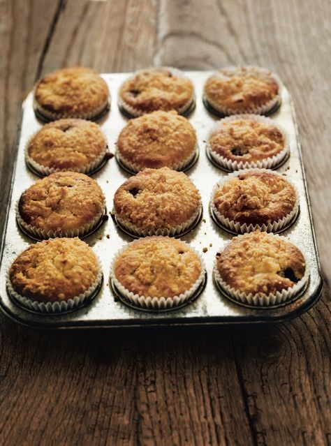 Autumnal apples and blackberries go into this muffin recipe with a crumble topping making them the best of both dessert worlds.