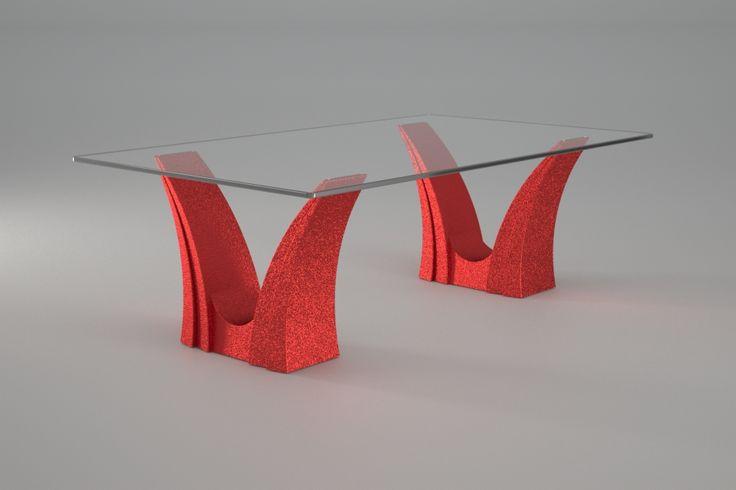 Articolo 3EA-16     Tavolino da salotto Apollo - Finitura: rosso.Misure: cm 110 x 65 - Altezza cm 37  - Peso: Kg.45 - Vetro: rettangolare -  temperato - extrawhite - filo lucido - spessore 1 cm