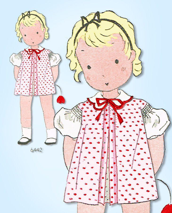 1930s Original VTG Pictorial Review Pattern 6442 Toddler Girls Shirred Dress Sz6 #PictorialReview #PleatedDressPattern