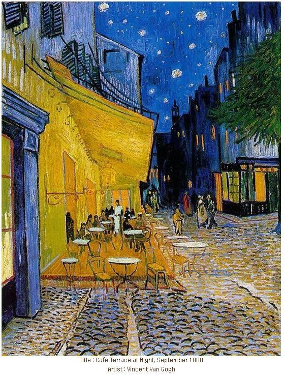 <아를르의 포룸 광장의 카페 테라스 >, 빈센트 반 고흐 ,  1888  커피와 예술은 유독 가깝다.  커피 전문점에서 미술 작품을 전시하기도 하고, 예술가들은 커피를 마시며 혹은 카페에서 영감을 받기도 한다.  18세기에서 19세기 사이부터 커피는 예술가들에게 영감을 주기 시작했다. 당시 커피 하우스는 예술가들의 아지트이자 그림의 소재였다.  가장 유명한 작품이 고흐의 이 작품이 아닐까 싶다.  작품에는 밤의 카페 테라스 풍경이 담겨 있다.  고흐는 하루에 1프랑을 주고 이 곳에서 하숙했으며 동생 테오에게 이 카페에 대한 편지를 보내기도 하는 등 카페에 대한 애정이 많다. 실제로 이 작품을 사흘동안 잠을 자지 않고 그렸다고 한다.