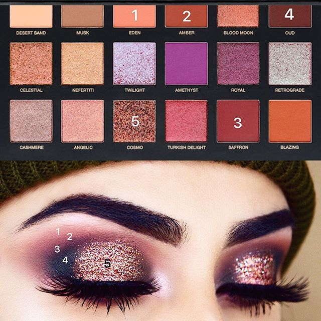 @hudabeauty @shophudabeauty Desert Dusk Palette (Eden, Amber, Saffron, Oud, Cosmo) #hudabeautydesertdusk  Subculture Palette (Cube in the inner corner and brow bone, Noir single eyeshadow