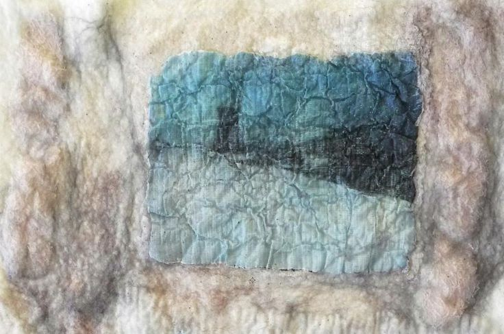 Experiment : wet felted piece with an inserted  imagetransfer ( made from paper and a gelmedium ) on voile . 2015- Geskea Andriessen