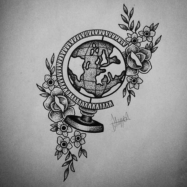 """So I redrew my globe design...This is why I prefer dotwork!"" ~ tattosbyjasmin…"