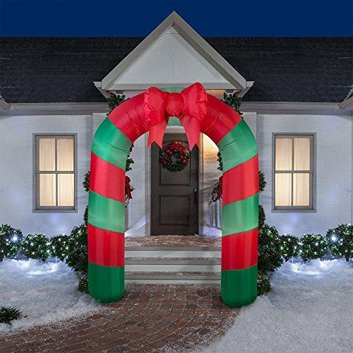 Home Accents Holiday 75.59 in. W x 24.80 in. D x 90.16 in. H Lighted Inflatable Archway Red Green Striped with Bow by Home Accents Holiday. Home Accents Holiday 75.59 in. W x 24.80 in. D x 90.16 in. H Lighted Inflatable Archway Red Green Striped with Bow.