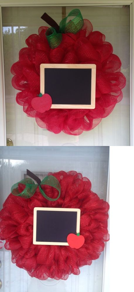 Door D cor 36020: Large Apple Chalkboard Teacher Appreciation Deco Mesh Ribbon Wreath -> BUY IT NOW ONLY: $45 on eBay!