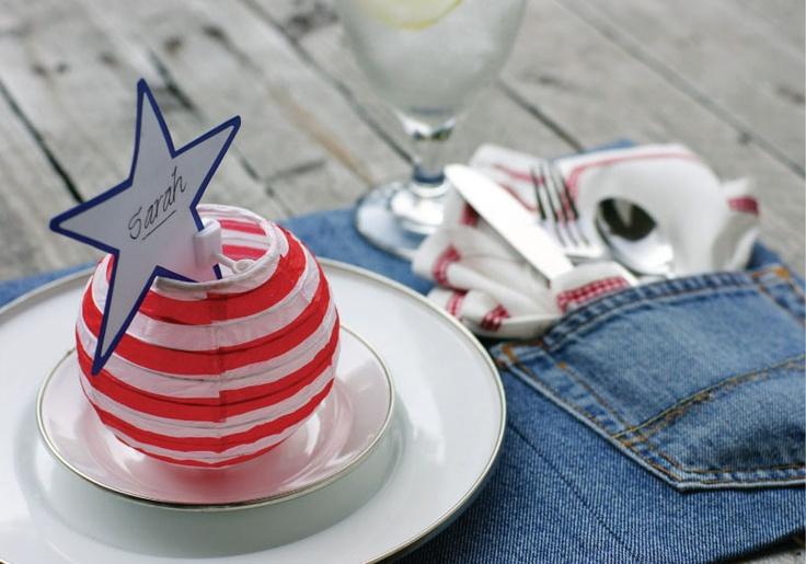 Cute  placemat for a cowboy party or 4th of july / Americana party.: Places Mats, Denim Jeans, Denim Placemat, Blue Jeans, Picnics Table, 4Th Of July, Cowboys Parties, Places Sets, Jeans Placemat