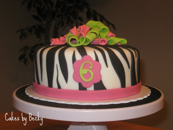 """One of my favorite girlie Birthday cakes I've done - just love the combination of the zebra stripes and the fondant """"ribbons"""" on top :)Zebras Stripes, Fondant Cake, Cake Ideas, Fondant Ribbons, Zebra Stripes, Cake Ives, Girls Cake, Gift Cards, Birthday Cakes"""