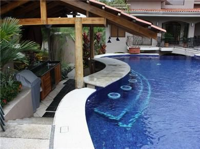 Back Yard Swim Up Pool Bar With Underwater Seats