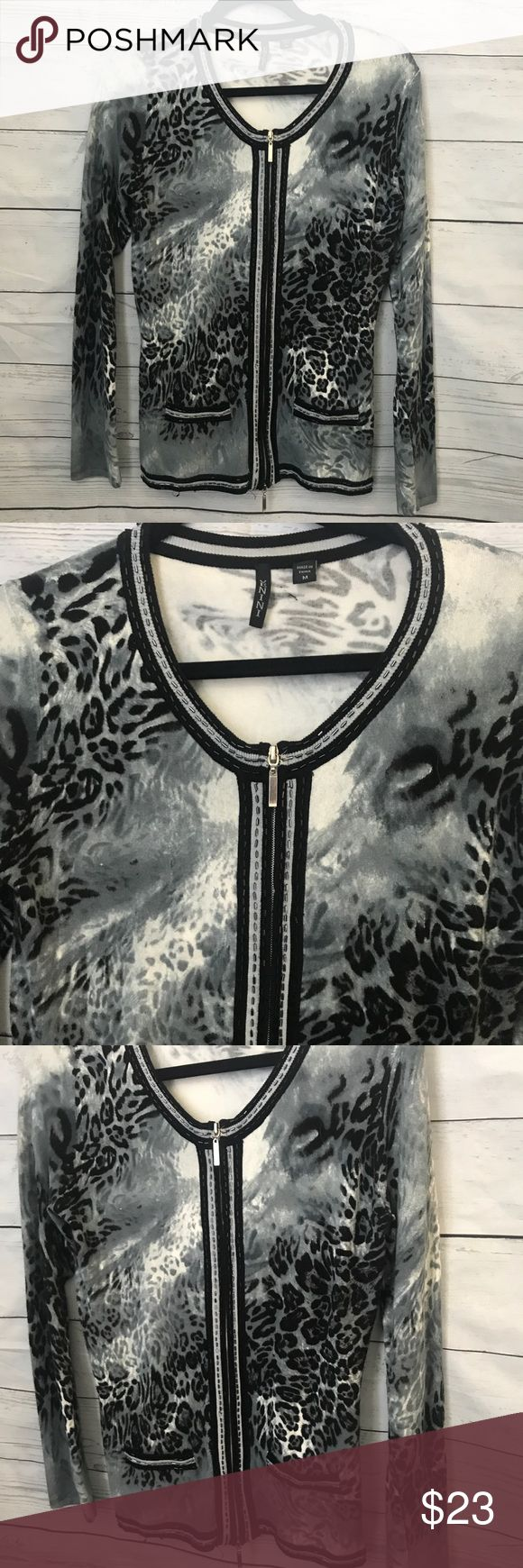 Animal Print Zip Up Sweater Size Medium Black White And Grey In Color Has Two Zippers So You Can It All The Way Or
