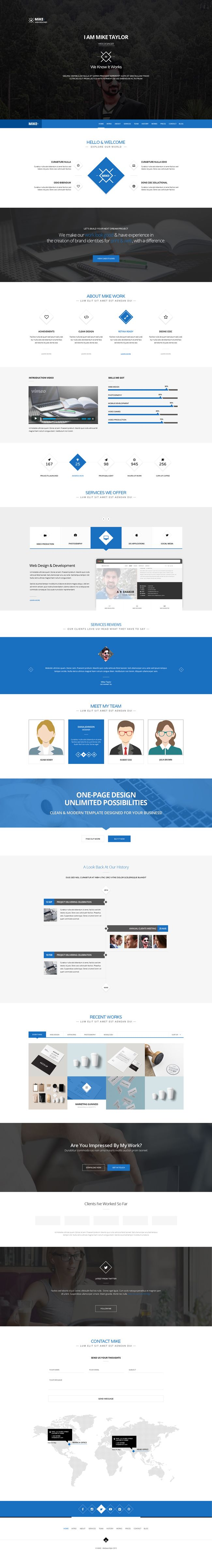 Free Download : Clean One Page Website Template (PSD)