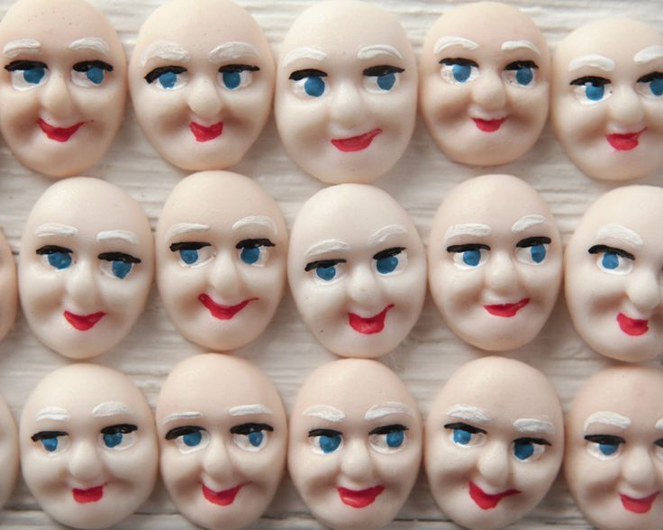 Elf Faces - Miniature Painted Plastic Face Cabochons for Crafts, 8 Pcs.
