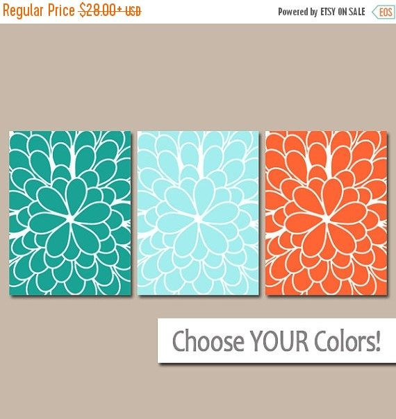 Bathroom Decor Teal Orange WALL Art CANVAS or Prints by TRMdesign