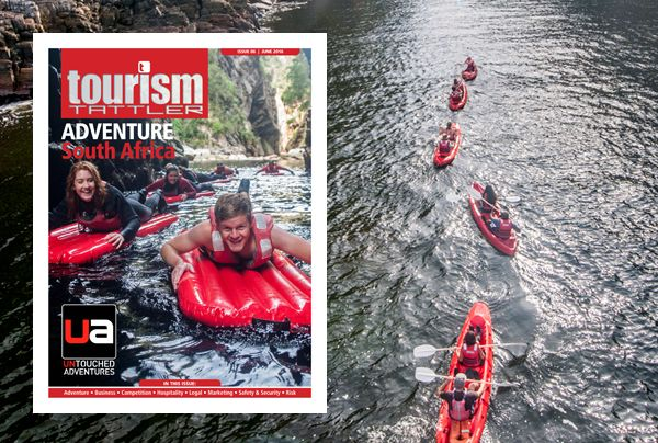 The June edition front cover features the awesome Storms River Mouth on South Africa's Garden Route. Explore this untouched playground by kayak, lilo, scuba or snorkel with Untouched Adventures. Read more about Untouched Adventures on page 13, and about Adventure Tourism in Africa and South Africa on pages 06-15.