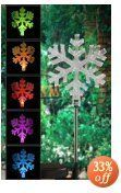 Encore H5173 Solar Powered Color Changing Snowflake Garden Stake by Encore. $7.99. From the Manufacturer                Perfect for Christmas, decorate your garden to show your holiday spirit. Just stake it into the ground in a sunny spot. The solar panel absorbs the sun's energy then illuminates the clear figurine for hours through the night-hues changing from blue to emerald to violet and so on across the spectrum of the rainbow. Requires no electricity, no wiring. Ph...