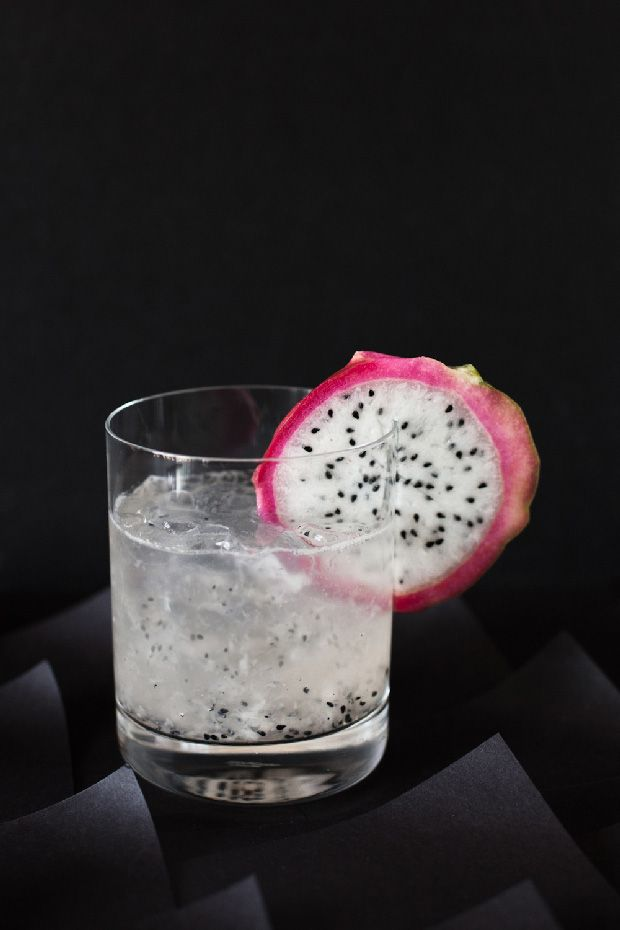 The Three Dragons:  1 oz white tequila  1/2 ounce mezcal; 1/2 ounce vodka; 1/2 ounce St Germaine; 2 tablespoons fresh dragon fruit, plus a slice for garnish; Juice from half a lime; 1/2 ounce simple syrup