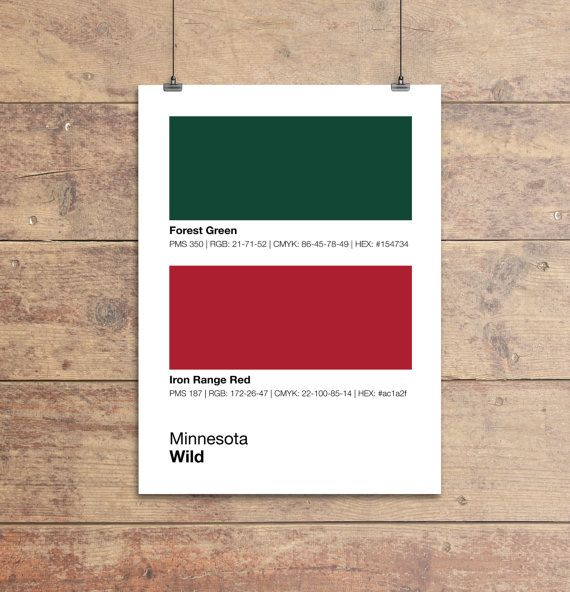 Minnesota Wild Pantone Poster NHL Hockey Man Cave by Sproutjam