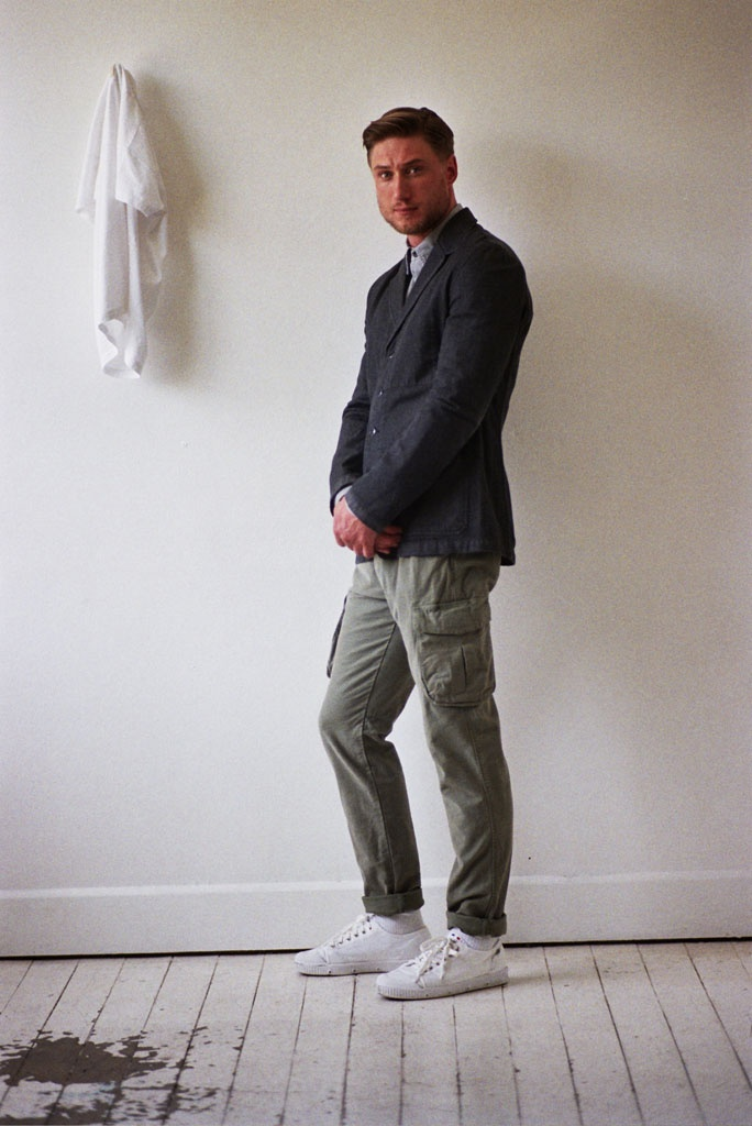 Jimmy Chore Jacket Charcoal, Tommy Work Shirt Grey Twill, Benjamin Trouser Army Green