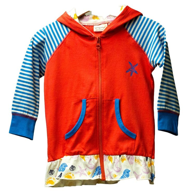 Organic Nautical Red Zip Up Jacket