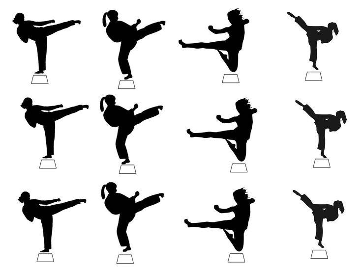 12 X Black Karate Girl Mix Silhouette Edible Cupcake Toppers