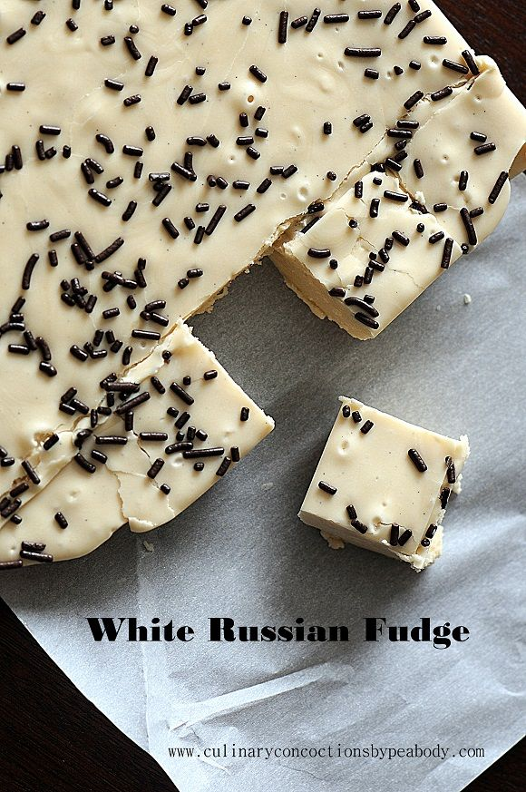 White Russian Fudge  http://www.culinaryconcoctionsbypeabody.com/2013/03/22/white-russian-fudge/